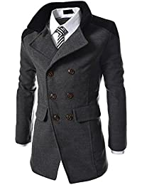 Acquaa Men's Stand Collar Double Breasted Wool Trench Peacoat