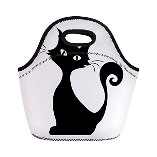 Semtomn Lunch Tote Bag Halloween Black Silhouette of Sitting Cat Graphic Tail Outline Reusable Neoprene Insulated Thermal Outdoor Picnic Lunchbox for Men Women -