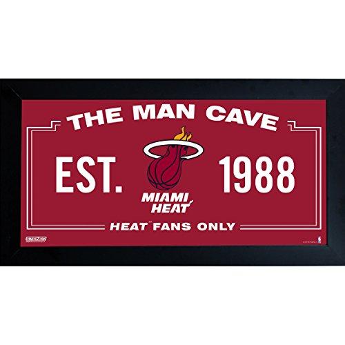 Steiner Sports NBA Miami Heat Man Cave Sign 6 x 12 Framed Photo ()