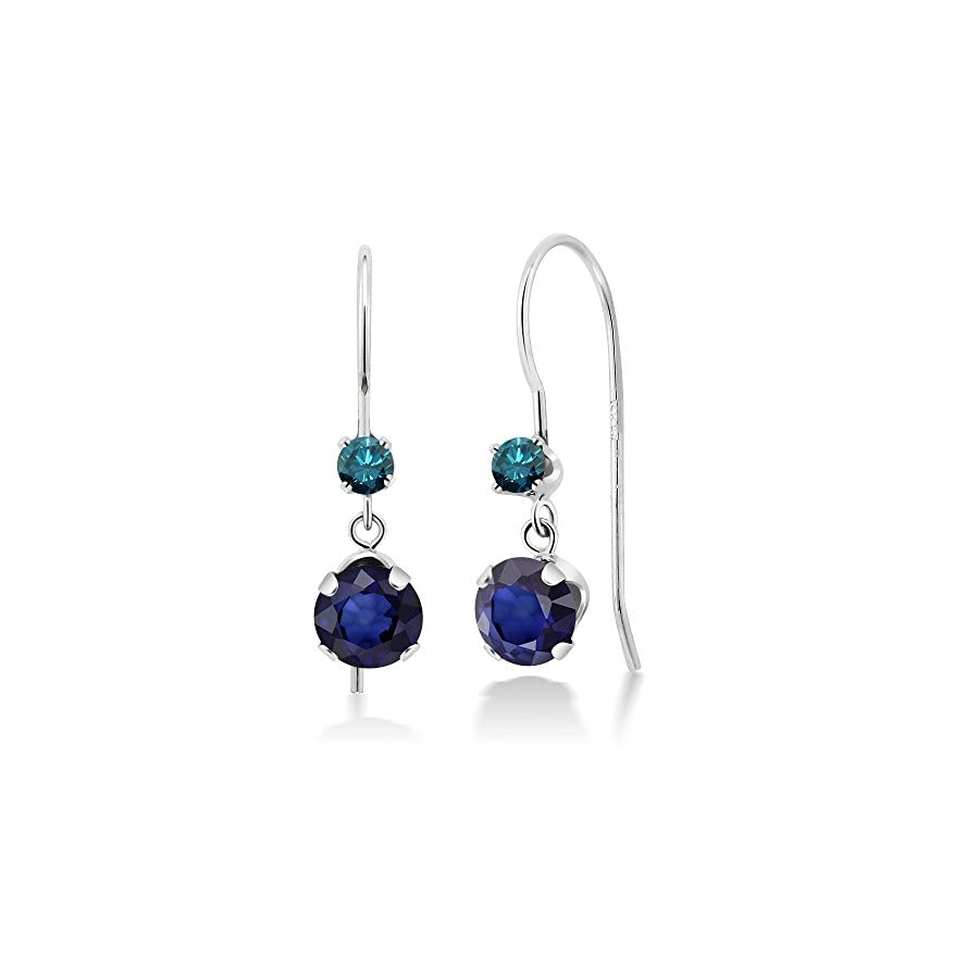 1.24 Ct Round Blue Sapphire and Blue Diamond 14K White Gold Earrings