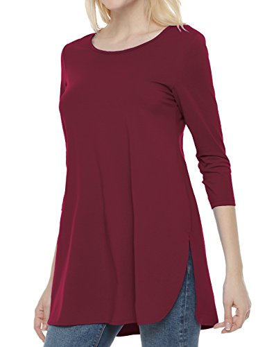 3/4 Tunic Top - Ortilerri Women's 3/4 Sleeve Casual Loose Tunic Tops, Side Slit Shirt Blouse (Wine, XXL)
