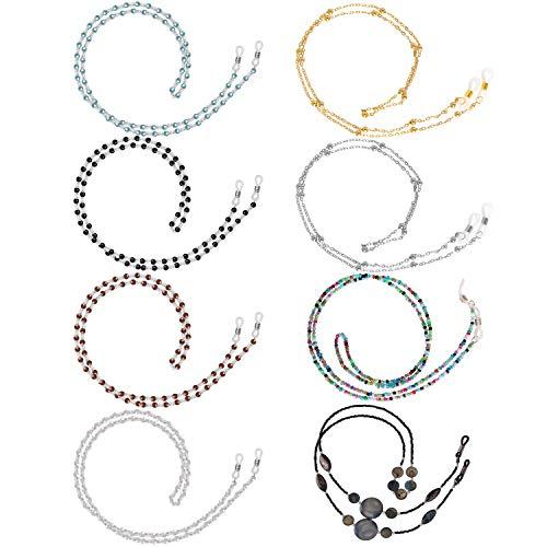 Eyeglass Chains, Hicdaw 8PCS Eyeglasses String Eyeglass Chains Holder Glasses Cord Lanyard Gift for Women