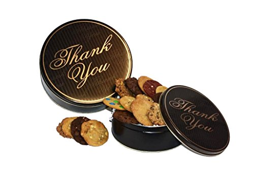 Cookies From Home - Thank You Cookie Tin Freshly Hand Baked Cookie and Brownie Gift Box - 24 Cookies + 2 Brownies (Gluten Free)
