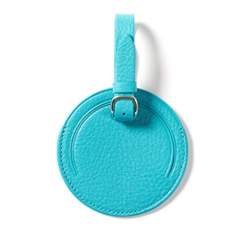 Small Round Luggage Tag - Full Grain Leather - Teal (blue) (Tags Leather Bag Round)