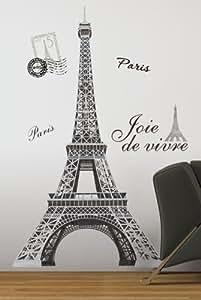Jomoval RoomMates - Pegatinas para la pared reutilizables, diseño de Torre Eiffel
