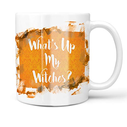 Neonblond 11oz Coffee Mug What's Up My Witches? Halloween Orange Wallpaper with your Custom Name -