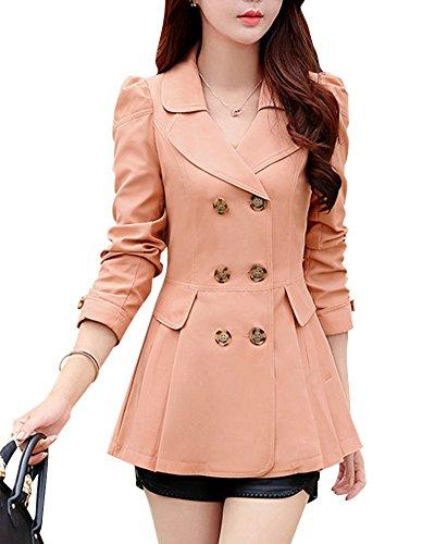 Pink Double Trench Caoutchouc Boutonnage Femme Manteau Jacket Splice Manteau Slim Revers Ywxxfqv6
