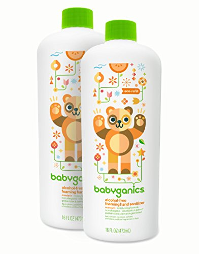 Babyganics Alcohol-Free Foaming Hand Sanitizer Refill, Mandarin, 16oz Bottle (Pack of 2)
