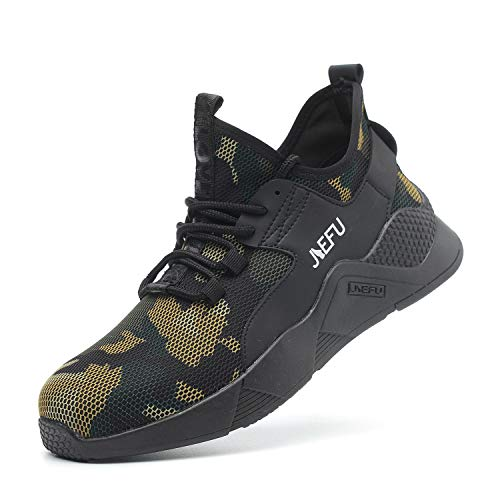Work Shoes Mens, Mesh Breathable Lightweight Comfortable Steel Toe Safety Industrial Construction Slip Resistant Shoes, 822 Green 46 (Best Work Sneakers 2019)