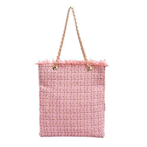 Women's Large Capacity Tweed Wool Tote Bag Knit Shoulder Bag Chain Handbag(9025-Pink)
