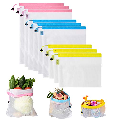 Set of 9 Reusable Produce Bags, Mesh Shopping Bag for Grocery & Storage, with Bright Tare Weight on Tags, Double-Stitched Strength, Machine& Hand Washable, Eco-Friendly (Blue, Pink,Yellow, 9) from MIUVA
