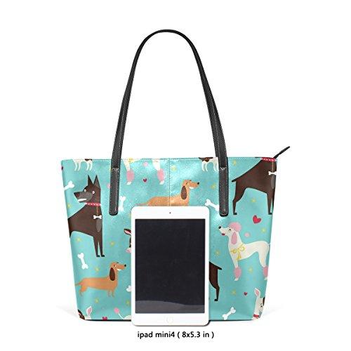 COOSUN Cute Dogs Pattern PU Leder Schultertasche Handtasche und Handtaschen Tasche für Frauen WwAMuPx7P