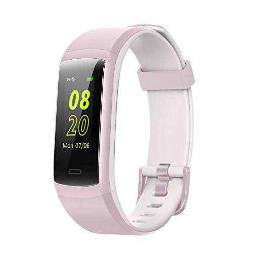 Sleep Screen - Fitness Tracker,YAMAY Fitness Watch Heart Rate Monitor Activity Tracker,Color Screen Dual-Color Bands IP68 Waterproof,with Step Counter Sleep Monitor 14 Sports Tracking for Women Men Kid (Pink-White)