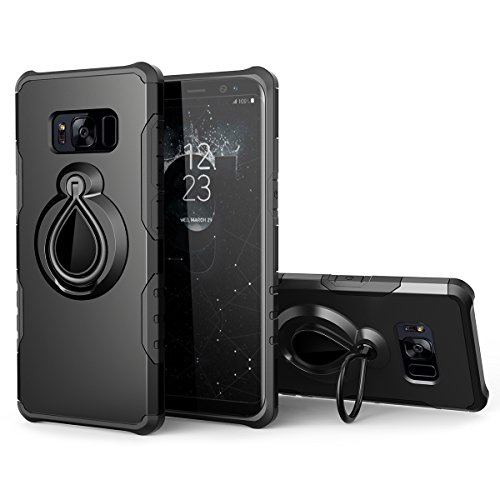 - Galaxy S8 Case with Metal Ring Holder Kickstand, SmartLegend Dual Layer Shockproof Heavy Duty Protection Defender Armor Case [Magnetic Car Mount Compatible] for Samsung Galaxy S8 - Black