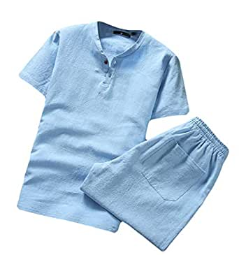 Men's Summer 2 Piece Outfits Fashion Cotton Linen Short Sleeve Shorts Outfits 1 2XL