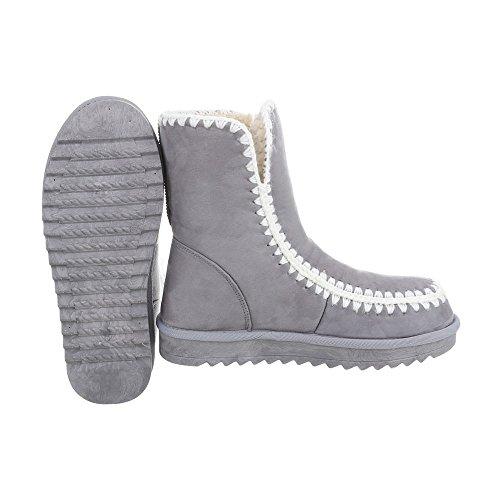 Schuhcity24 Damen Schuhe Stiefeletten Gefütterte Hellgrau