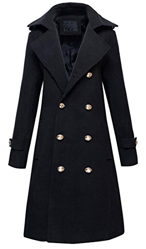 Oberora Mens Double-breasted Lapel Solid Woolen Coat Trench Coat Overcoat Black XL