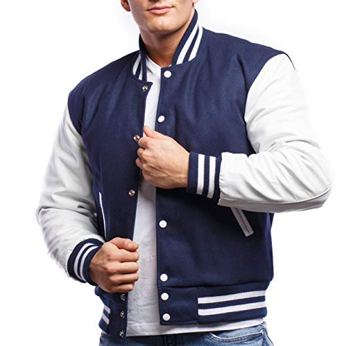 Varsity Base Letterman Jacket (10 Color Options) - S to 2XL (Royal Wool, White Leather, Small) (Color Team Jacket)