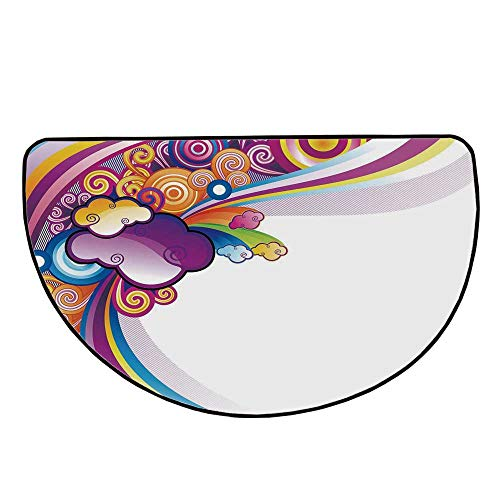 Cartoon Comfortable Semicircle Mat,Kids Nursery Room Decoration Rainbows Colored Clouds Lines Rounds Suns Print Image for Living Room,27.5