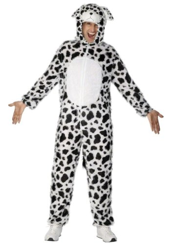 Halloween Dog Costumes Uk (Smiffy's Adult Unisex Dalmatian Costume, Jumpsuit with Hood, Party Animals, Serious Fun, Size M, 31672)