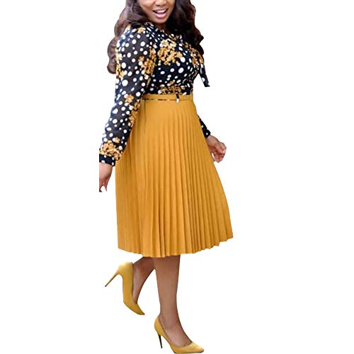 HD Stylish African Dresses for Women Patchwork Midi Skirts Ladies Chiffon Shirts Summer Dress Yellow 2XL