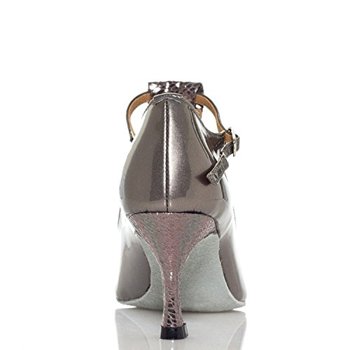 Wedding Comfort Dance Grey Taogo Women's Minishion Sandals Pleather Ballroom Latin Strap TH012 T axIvw6Yq