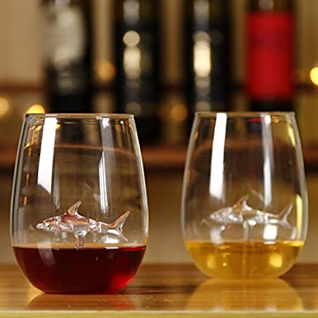 BSSN Copas de vino sin tallo Juego de 2 copas de vino de cristal con tiburón en el interior, flautas de champán para fiestas de cumpleaños o bodas