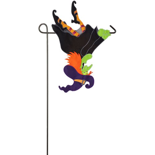 Upside Down Flying Witch Applique Garden Flag (Halloween Garden)