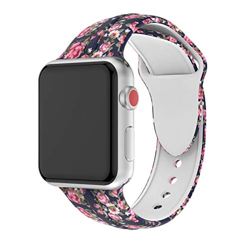 Usitek Sport Band Compatible with Apple Watch 44mm/42mm 40mm/38mm, Soft Silicone Sport Strap Replacement Floral Printed Bands Compatible for iWatch Apple Watch Series 4/3/2/1 S/M M/L