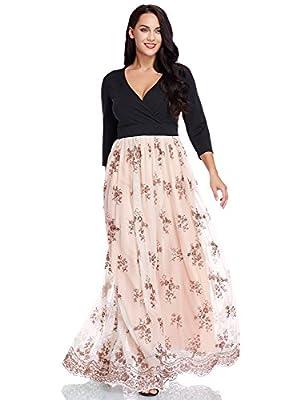 GRAPENT Women's Plus Size Sequin 3/4 Sleeves Evening Gown Party Long Maxi Dress
