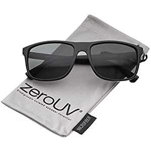 zeroUV - Modern Casual Lifestyle Flat Top Rectangle Lens Horn Rimmed Sunglasses 56mm (Matte Black / Smoke)