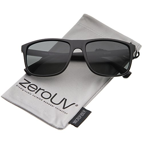 zeroUV - Modern Casual Lifestyle Flat Top Rectangle Lens Horn Rimmed Sunglasses 56mm (Matte Black / - Wayfarer Black Flat