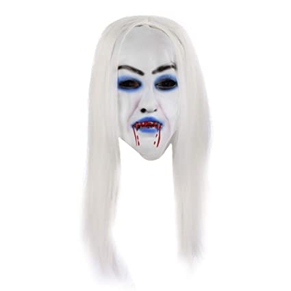 Amazon.com: Outflower Halloween Party Masquerade Latex Mask Costume Cosplay Props White Hair Bleeding Witch Mask: Home & Kitchen