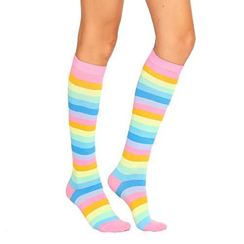 Unisex Striped Knee High Socks Rainbow Women Girls Over Calve Athletic Soccer Tube Cool Fun Party Cosplay Socks, Pink Rainbow,One Size 6-11