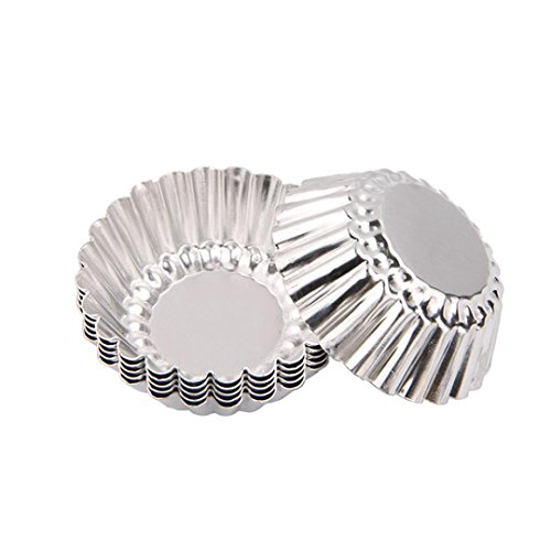 10pcs Egg Tart Aluminum Cupcake Cake, Prettymenny's Cookie Mold Pudding Mould Tin Baking Tool (Silver) (Us Set Tell Canisters)