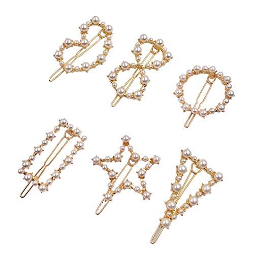 Messen Artificial Pearl Hair Pins Hair Barrettes Decorative Bridal Hair Clips Handmade Hair Accessories for Women Girls (6 Pieces,Triangle/Circle/Bowknot/Pentagram/Rectangle/Heart)