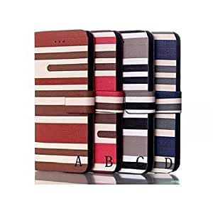 XB- Stripes Pattern Wallet Leather Case for iPhone 6 (Assorted Colors) , C