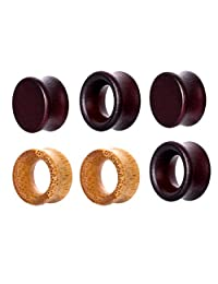 Fityle 3 Pairs Assorted Wooden Tunnel Plugs Ear Gauges Expander Piercing 8mm-20mm
