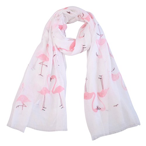 (Women Lightweight Soft Printed Scarf - Flamingo Light Thin Oblong Scarfs Wrap Shawl For Spring Summer 2018 New Design Fashion Scarfs Idea Gift)