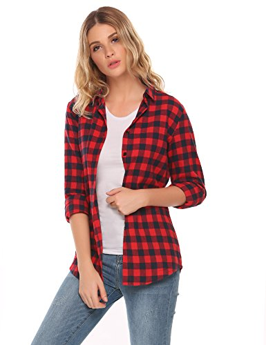 Zeagoo Womens Basic Long Sleeve Cotton Button Down Collared Shirt Plaid Flannel Tops ()