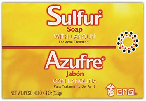 Sulfur Grisi Soap Bar | Sulfur Face Soap for Acne Treatment, Helps Clear Up Pimples and Blemishes; 4.4 Ounces
