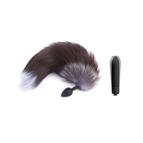 Adult Game 10 Speed Vibrator Silicone Anal Plug Fox Tail Sex Toys for Men Woman Vibrating Bullet Butt Plug Erotic BDSM Products,Vibrator with Tail