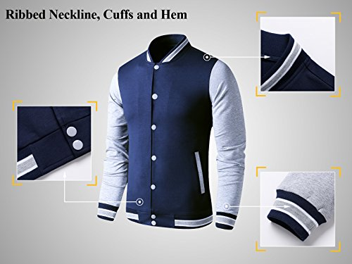 LTIFONE Mens Lightweight Varsity Jacket Button Down Baseball College Letterman Jacket(Blue,L) by LTIFONE (Image #3)