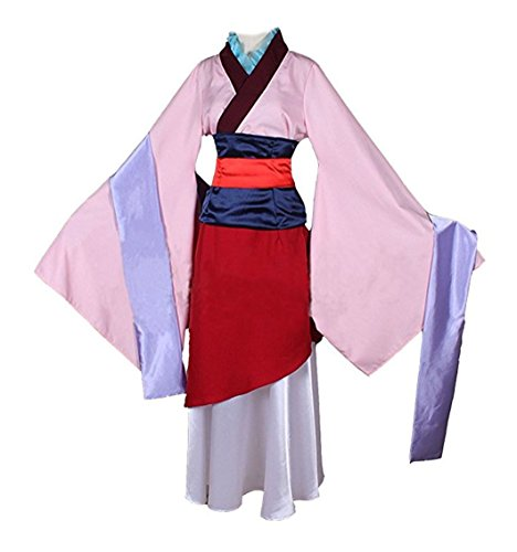 Kids Adult Womens Hua Mulan Dress Cosplay Costume Halloween Outfit Party Dress (Kids L, Pink)