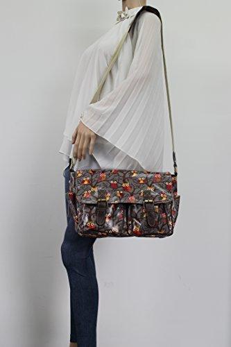 School Swanky Girls Womens Bag Print Satchel Owl Bag Tree Grey Handbag 7cpW7CSq