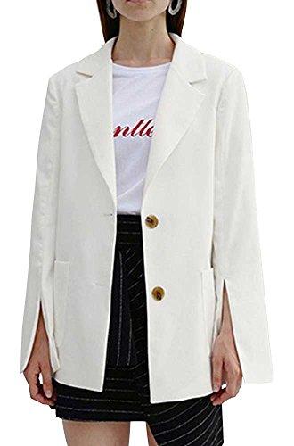 ADD SENSE Women's Modern White Single-Breasted Work Office Jacket One Size White
