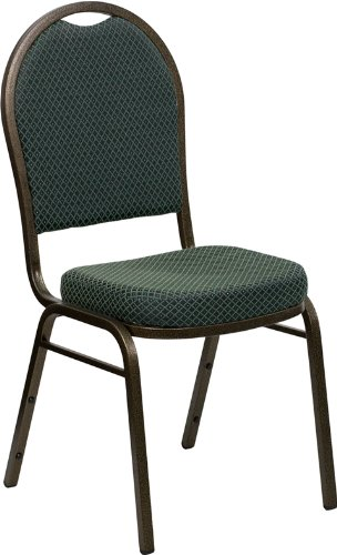 Flash Furniture HERCULES Series Dome Back Stacking Banquet Chair in Green Patterned Fabric - Gold Vein Frame by Flash Furniture