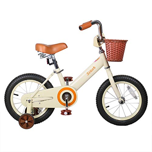 JOYSTAR 14 Inch Kids Bike for 3 4 5 6 Years Old Girls, Vintage Kids Bicycle with Front Basket & Training Wheels for 4-6 Years Child, Beige