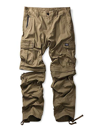Men's Zip Off Cotton Convertible Pants Durable Cargo Shorts Trousers