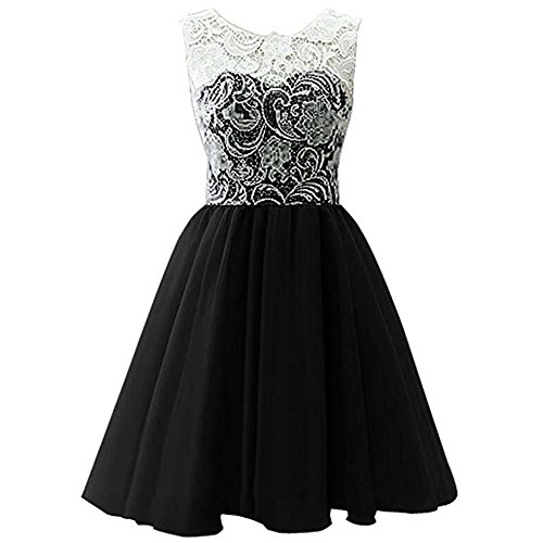 LPATTERN Little/Big Girl's Ruched Sleeveles Lace Short Tulle Flower Dress Bridesmaid Wedding Prom Party Dresses Evening Gowns Black (Little Black Ruched Dress Short Dress)
